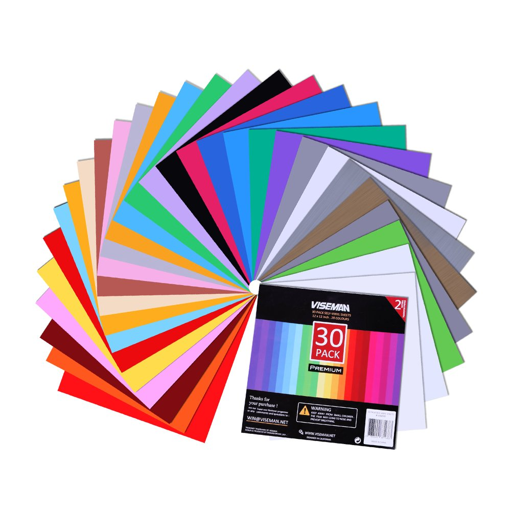 Adhesive Vinyl Sheets - 12'' X 12'' Premium Permanent Glossy Self Vinyl Craft Paper with 2 Clear Transfer Tap Cutters (30 Pack)