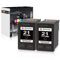 GPC Image Remanufactured Ink Cartridge Replacement for HP 21 C9351AN to use with FAX 3180 1250 deskjet f380 D1520 D2430 F335 F1530 D1520 F300 F1455 D2430 PSC 1401 1410 1417 1415 Printer (2-Black)