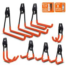DRILLPRO Heavy Duty Wall Hooks, Pack of 8 Garage Hooks Wall Mount Tool, Garage Hangers for Organizing Power Tools, Ladder Hangers for Wall, with 17 Pairs Screws and 8 Metal Strengthen Plates