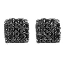 Dazzlingrock Collection 0.33 Carat (ctw) Ice Cube Dice Shape Mens Hip Hop Iced Stud Earrings 1/3 CT, Sterling Silver
