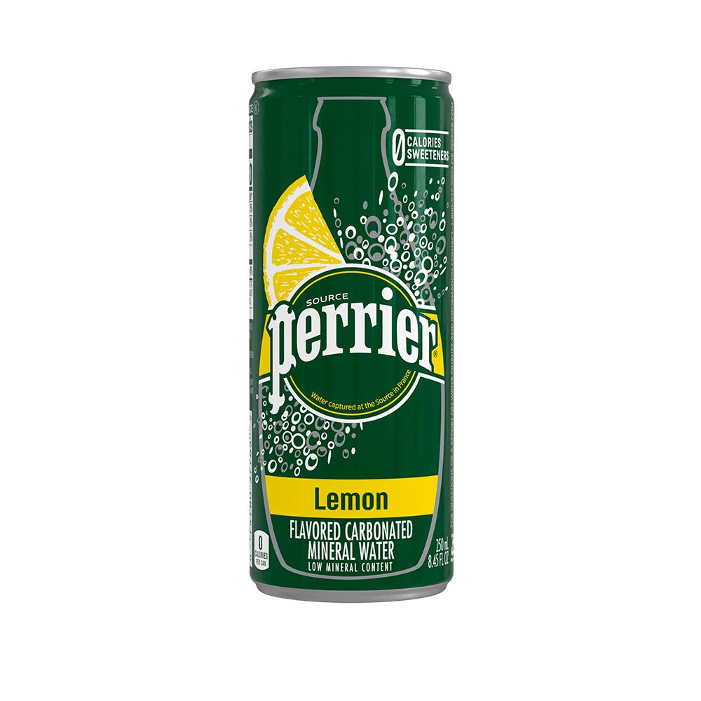 Perrier Lemon Flavored Carbonated Mineral Water, Slim Cans, 8.45 Fl Oz (30 Pack)