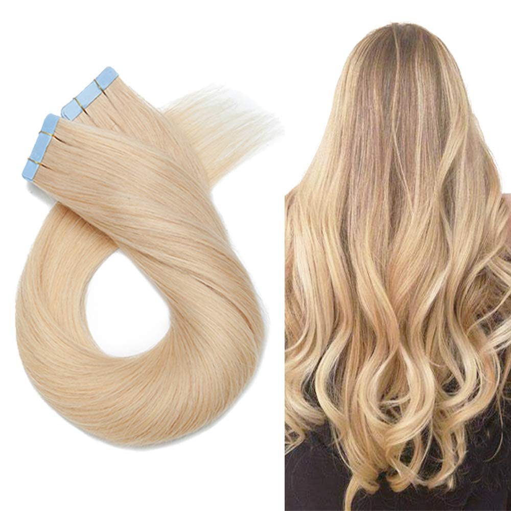 Tape In Real Human hair Extension Glue In Skin Weft Hair Extensions Rooted Tape in Remy Hair Seamless Invisible Double Sided Tape Human Hair Extensions For Women 18 inch 30g 20pcs #613 Bleach Blonde
