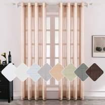 MIULEE 2 Panels Natural Linen Long Semi Sheer Window Curtains Elegant Solid Light Salmon Drapes Grommet Top Window Voile Panels Linen Textured Panels for Bedroom Living Room (52X108 Inch)