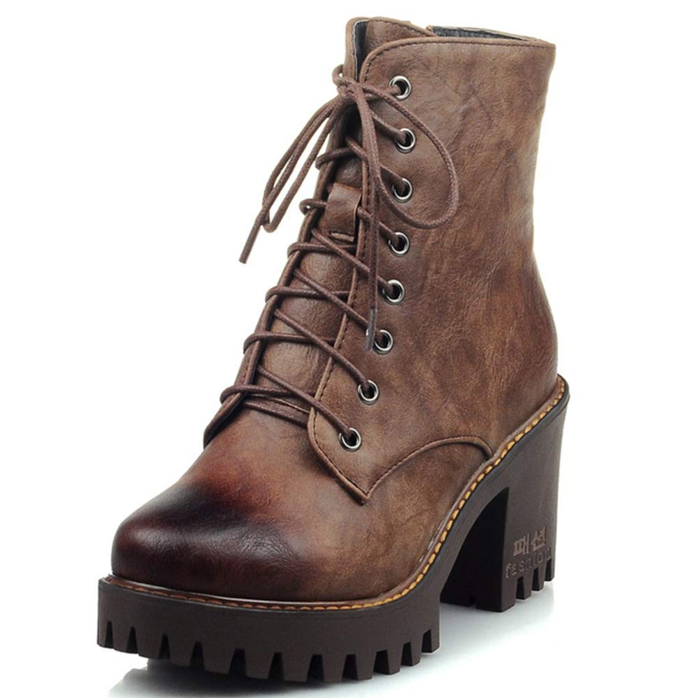 Women's Vintage Military Combat Boots Platform Chunky High Heel Lace Up Cowboy Moto Martin Ankle Booties