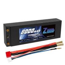 Zeee 2S Lipo Battery 7.4V 100C 8000mAh Hard Case Lipo Batteries Pack with 4mm Bullet Dean-Style T Plug for 1/8 1/10 RC Car Model Traxxas Slash Buggy Team Associated
