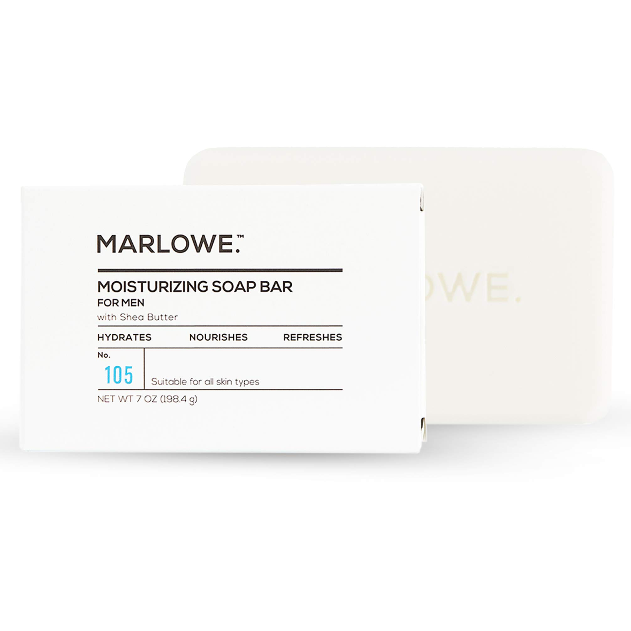 MARLOWE. No. 105 Body Moisturizing Soap for Men 7 oz   Made with Shea Butter & Natural Ingredients for Gentle Cleansing   Rich & Creamy Lather   Awesome Scent