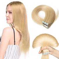S-noilite 20Pcs 60g Remy Tape in Hair Extensions Human Hair Seamless Skin Weft Invisible Double Sided Glue in hair for women Silky Straight 14 Inch #613 Bleach Blonde Color