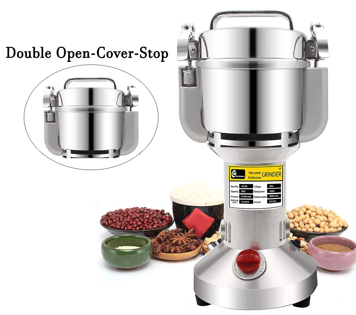 CGOLDENWALL Stainless Steel Safety Upgraded Electric Grain Grinder Mill High-speed Spice Herb Mill Commercial powder machine Powder Machine Dry Cereals grain Herb Grinder (300g Hand-held Type)
