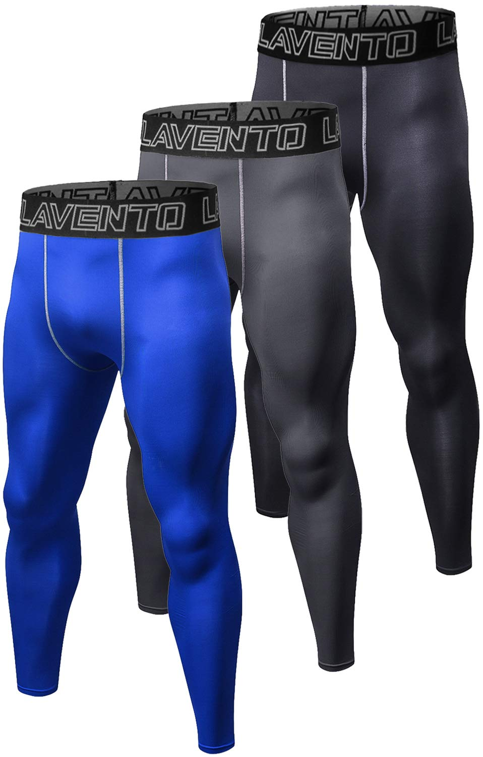 Lavento Men's 3-Pack Compression Running Tights Workout Base Layer Leggings