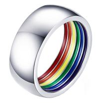 ALEXTINA 8MM Simple Style Stailess Steel LGBT Pride Ring Rainbow Stripes Inside Dome Shape