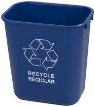 Carlisle 342928REC14 Plastic Recycle Deskside Wastebasket, 28 Quart, Blue (Pack of 12)