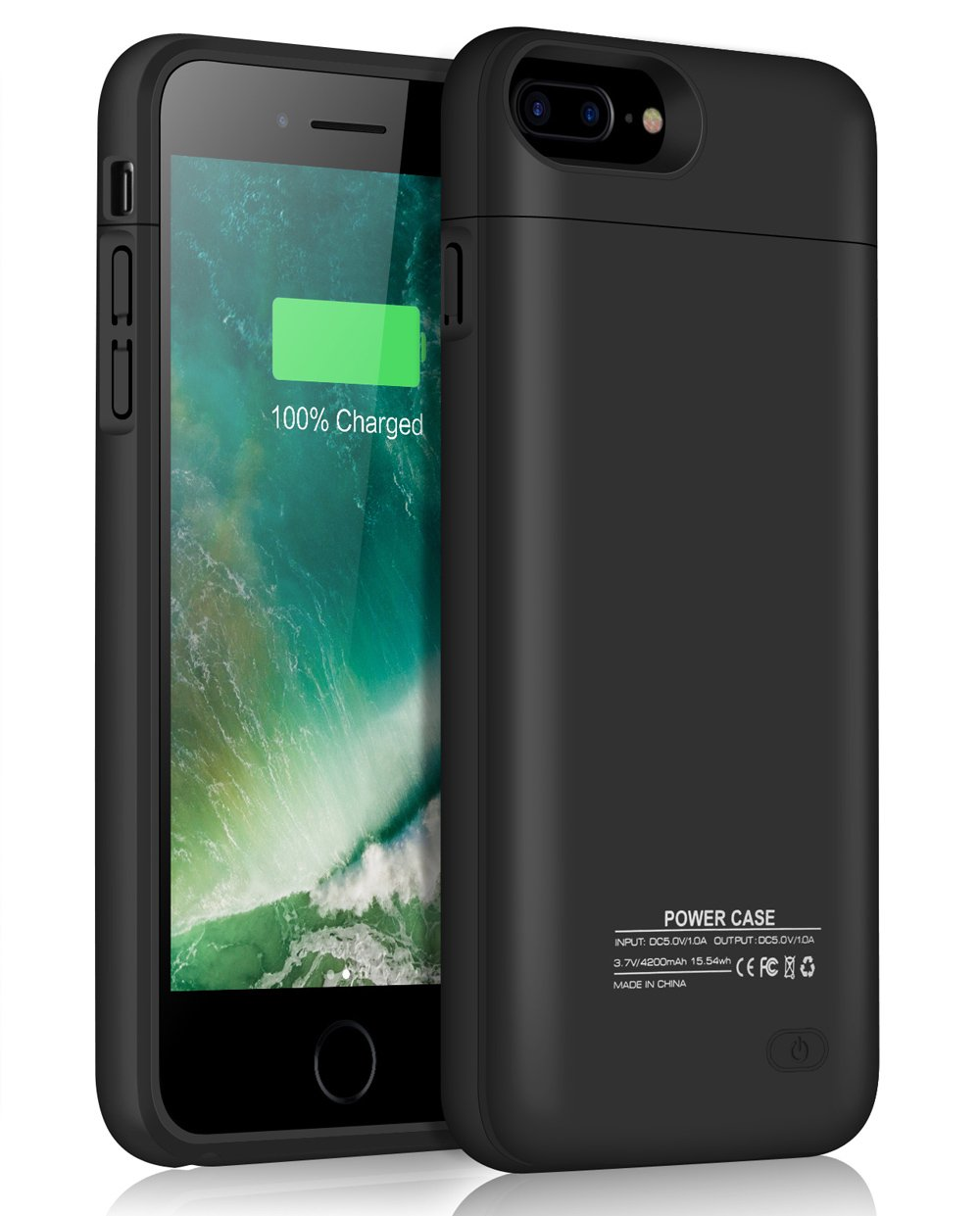 JUBOTY Battery Case for iPhone 7 Plus 8 Plus, 4200mAh Magnetic Slim Rechargeable Portable Charging Case for iPhone 8 Plus/7 Plus Juice Power Bank Battery Charger Case(Black)
