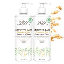 Babo Botanicals Sensitive Baby 2-in-1 Shampoo & Wash with Natural Oat Protein, Shea and Cocoa Butter, Fragrance-Free, Vegan - 2 Pack 16 oz.
