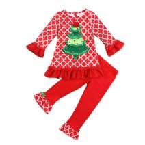 Motteecity Girls Clothes Adorable Christmas Tree Holiday Flare Tshirt Pants Set