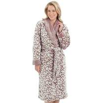 Ezi Women's Jacquard Luxury Fleece Terry Robe