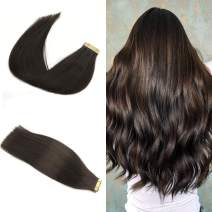 Labeh Tape in Hair Extensions 14 inch 50g/20pcs Straight 100% Unprocessed Virgin Remy Human Hair Darkest Brown Color #2 Seamless Skin Weft Tape In Hair Extensions