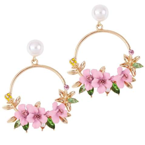 Rose pink chiffon fabric lightweight statement earrings in multiple lengths