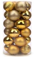 "SANNO 60mm/2.36"" Gold Christmas Ball Ornaments 2.36"" Shatterproof Christmas Decorations Tree Balls for Holiday Wedding Party Decoration, Tree Ornaments 24ct"