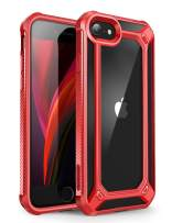 SupCase [Unicorn Beetle EXO Series] Case for iPhone SE 2nd generation (2020) , Premium Hybrid Protective Clear Bumper Case for iPhone SE /7/8 (Red)