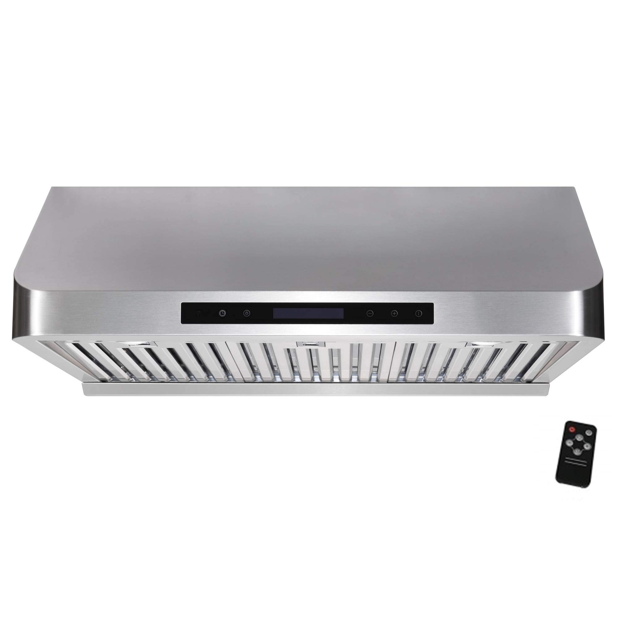 """Awoco 36"""" Supreme 10"""" High Stainless Steel Under Cabinet Range Hood 4 Speeds, 8"""" Round Top Vent, 1000CFM 2 LED Lights, Remote Control & External Oil Collector (RH-S10-36E)"""