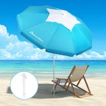 Brace Master 6.5ft Beach Umbrellas For Sand, Portable Outdoor Umbrella With Anchor - Uv 50+ Hollowing Out Design With Tilt Aluminum Pole Sunshade Umbrella With Carry Bag