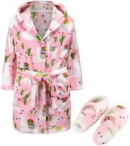 Kids Soft Plush Hooded Bathrobe Matching Slippers,Spa Robe Hooded Flannel Pajamas Sleepwear for Boys Girls