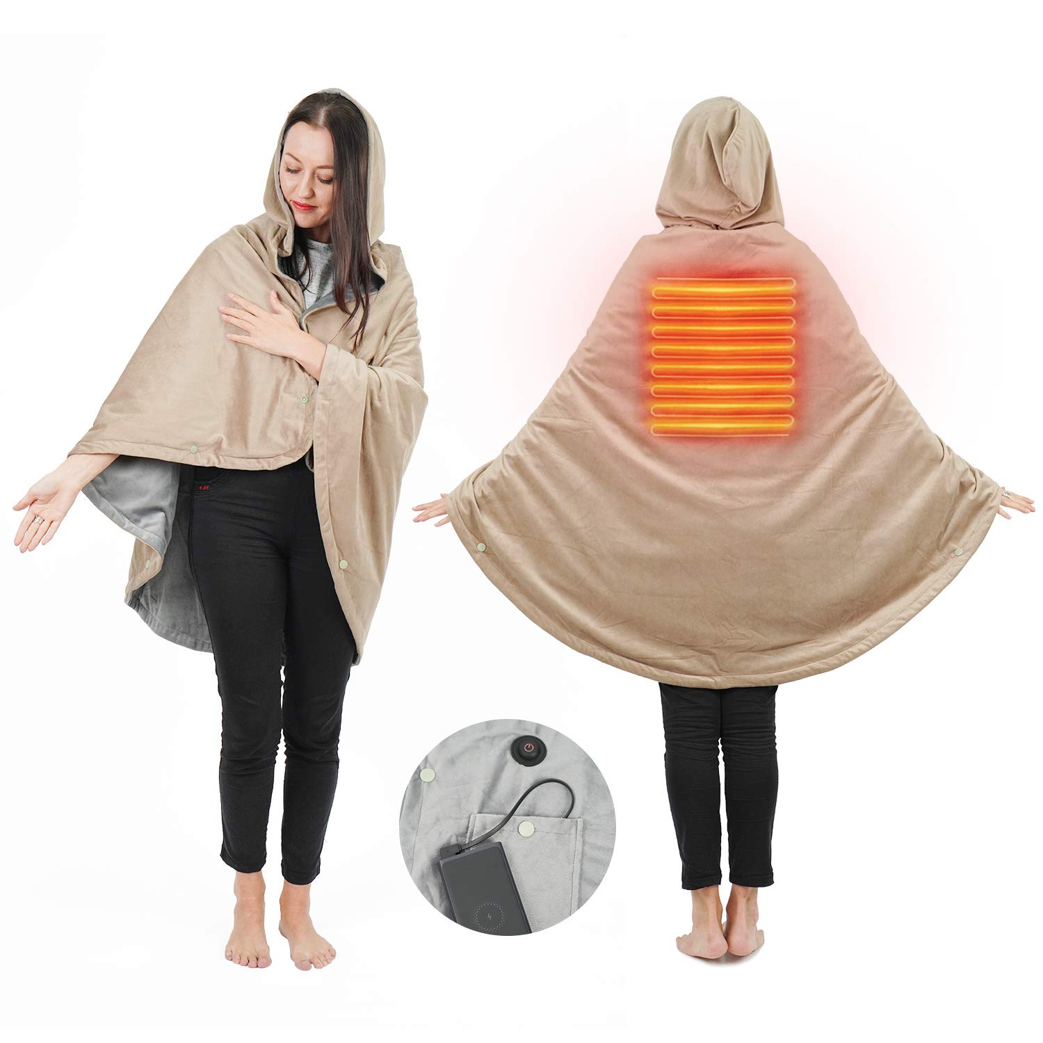 """Wearable Electric Blanket, Portable Poncho Wrap, Cordless Rechargeable Heated Shawl Blanket, Super Soft & Warm Fleece, Home Office & Travel Use, Machine Washable, Tan, 57""""X39"""""""