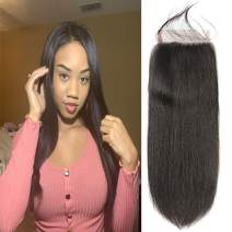 DAIMER Free Part 5x5 Lace Closure Straight Wave 100% Unprocessed Brazilian Virgin Remy Hair With Baby Hair One Piece For Sale Wet And Wavy Natural Black(22 Inch)