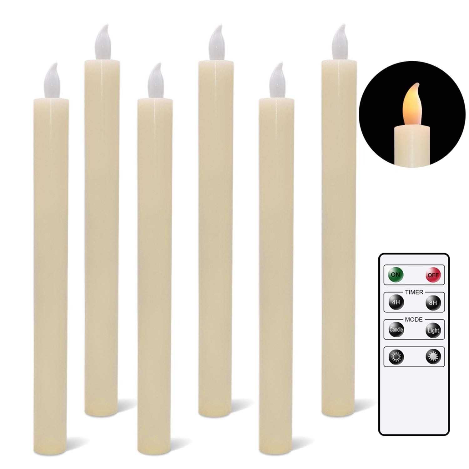 Flameless Flickering Taper Candles, LED Taper Candles Battery Operated Windows Candlesticks Ivory with Remote and Timer Pack of 6 Real Wax Home Wedding Party Decoration Light