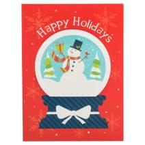 JAM PAPER Handmade Christmas Cards & Matching Envelopes Set - Snowman's Snow Globe - 12 Cards/Pack