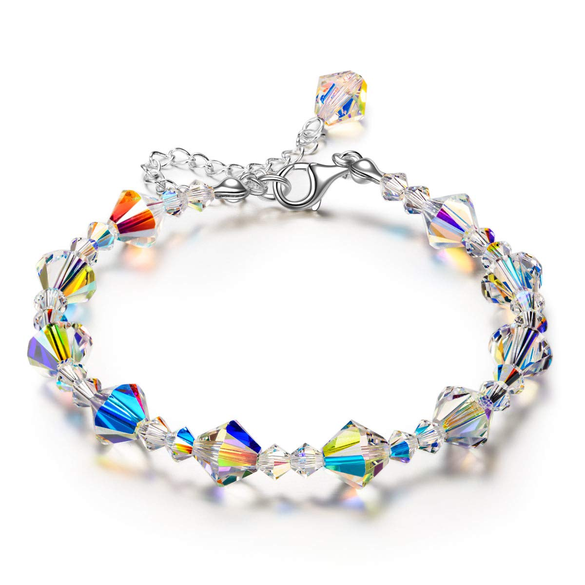 LADY COLOUR Mother's Day Jewelry Gifts for Mom, 925 Sterling Silver Adjustable Link Bracelet Made with Swarovski Crystal Jewelry Gift Box Packaging, Anniversary Birthday Gifts for Her Wife
