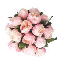 "Floral Kingdom 14"" Real Touch Latex Artificial Peony Flowers for Floral Arrangements, Bridal Bouquets, Home/Office Decor (6 Flowers, 2 Buds) (Blush Pink)"