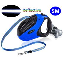 Retractable Dog Leash with Waste Bag Dispenser,Reflective Dog Walking Lead for Large Dogs Up to 150 lbs,Best Walking Running Hiking Dog Leash,Bonus a Roll of poop Bags,5M