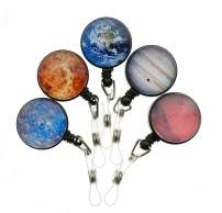 Purida Cute Badge Holder Retractable, ID Badge Reel with Belt Clip, Crystal Glass Planet Pattern Decorative, 5 Pack