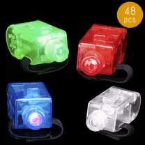 Lumistick LED Finger Colorful Lights   Flashing Ultra Bright Colors Finger Ring   Light Up Transparent Glowing Illuminate Blinking Finger Light Ring (Assorted, 48 Finger Lights)