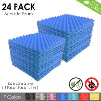 Arrowzoom New 24 Pack of (19.6 in X 19.6 in X 1.1 in) Convoluted Foam Soundproofing Insulation Egg Crate Acoustic Wall Padding Studio Foam Tiles (Blue)