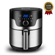 Besile Air Fryer 3.7 Quart,1500-Watts Stainless Steel Hot Air Fryer Mini, LED Digital Knob Controls,8 Preset Cook Modes,Nonstick Basket Free Cookbook