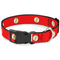 """Buckle-Down Plastic Clip Collar - Flash Logo Red/White/Yellow - 1/2"""" Wide - Fits 6-9"""" Neck - Small"""