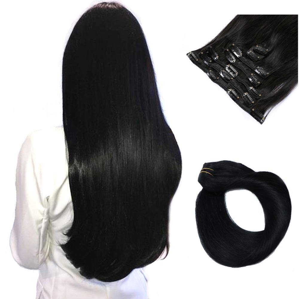Black Clip in Human Hair Extensions Real Remy Extensions Clip on for Women Double Weft Full Head Glueless Soft Silky Straight 100% Brazilian Virgin Hair Natural Black 70g 7pcs 16 Clips 20 Inch