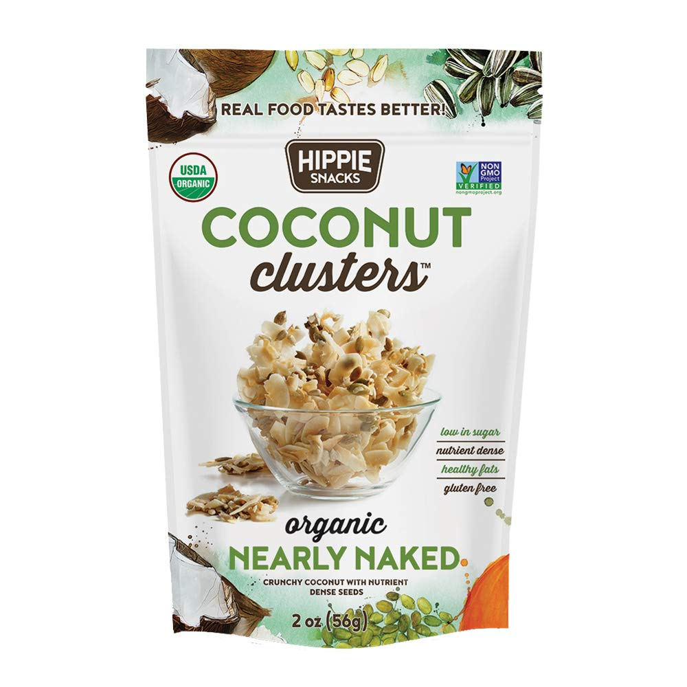 Hippie Snacks Coconut Clusters, Nearly Naked, 2oz (Pack of 6)