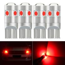 NAO 4pcs Red 194 168 921 T10 LED Bulb Light 194 LED Light Bulb 5SMD 3030 Trailer Car Backup Reverse Red LED Light Turn Signal Lights Super Bright