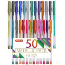 Shuttle Art 50 Pack Metallic Gel Pens, 25 Metallic Gel Pens Set with 25 Refills Perfect for Adult Coloring Books Doodling Drawing Art Markers