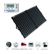 ACOPOWER 12V Portable 100 Watts Solar Panel Kit Suitcase with LCD Charge Controller (100W w/LCD Controller)