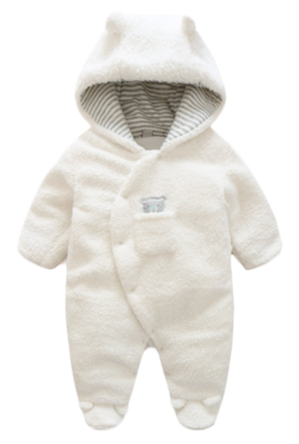 Toddler Baby Winter Warm Footies Romper Thick Wool Lamb Hooded Jumpsuit Outwear