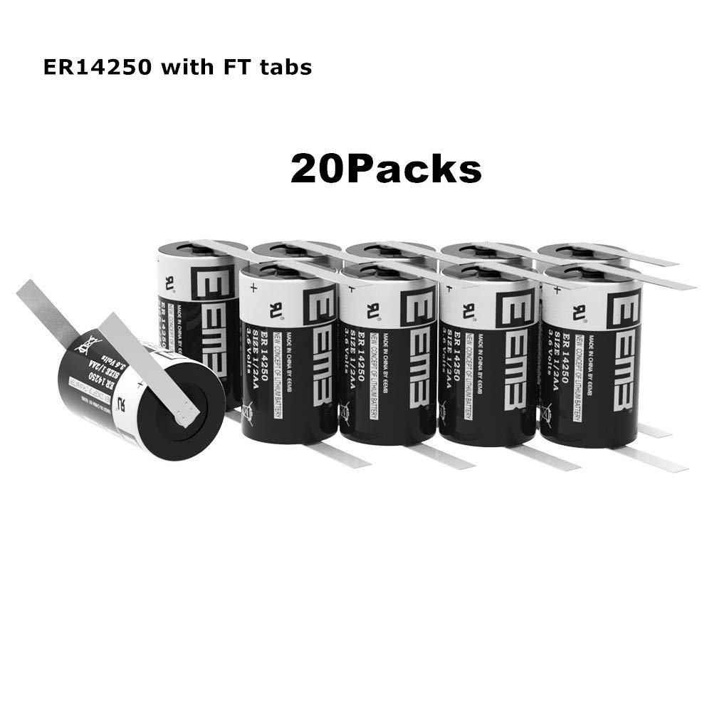 EEMB 1/2 AA 3.6 V Lithium Battery with Tabs ER14250 1200 mAh High Capacity Li-SOCl2 3.6Volt Lithium Thionyl Chloride Batteries Non Rechargeable UL Certified (20)