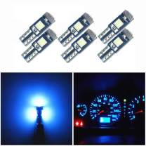 WLJH 6 Pack Ice Blue t5 74 73 37 Instrument Panel Light Bulb 3030 SMD 1.5W Replacement for Car Interior Dome License Plate Lights Lamp