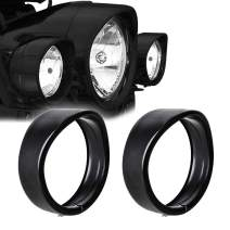 "NTHREEAUTO 4.5"" Fog Light Trim Ring Visor 4 1/2"" LED Passing Lights Black Decorate Rings Motorcycle Auxiliary Lamp Visor Compatible with 1962-later Harley (Black)"