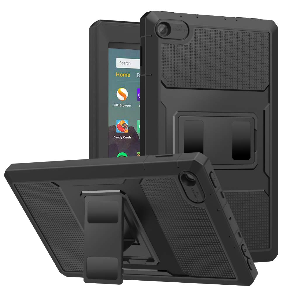 MoKo Case Fits All-New Amazon Kindle Fire 7 Tablet (9th Generation, 2019 Release), Anti-Slip Dual-Layer Full Body Rugged Hands-Free Viewing Stand Back Cover with Screen Protector - Black