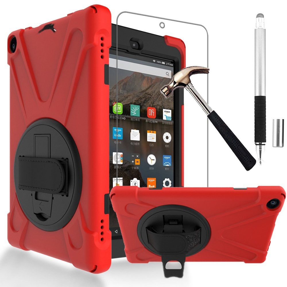 Gzerma Tablet Case for Fire HD 8 7th / 8th Generation with Fire HD8 Screen Protector 2017 2018, Shockproof Heavy Duty Cover Case with Hand Strap, Rotating Stand for All New Amazon Kindle Fire 8 (Red)