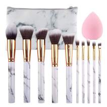 SEPROFE Makeup Brushes Set 10Pcs Marble Makeup Brushes Best for Travel Make Up Powder Foundation Eyebrow Eyeliner Blush Cosmetic Blending Brush with Free Cosmetic Bag and Sponge